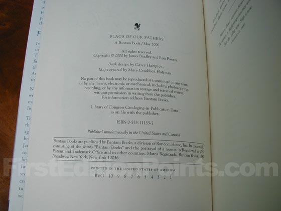 Picture of the first edition copyright page for Flags Of Our Fathers.