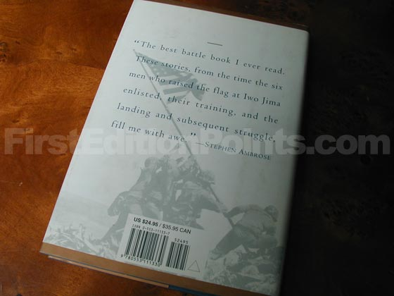 Picture of the back dust jacket for the first edition of Flags Of Our Fathers.