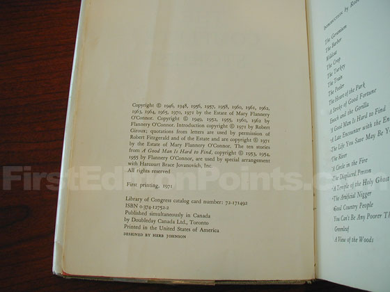 Picture of the first edition copyright page for The Complete Stories.