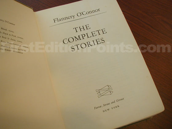 Picture of the first edition title page for The Complete Stories.