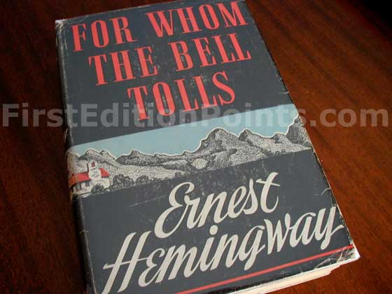 Picture of the 1940 first edition dust jacket for For Whom the Bell Tolls.