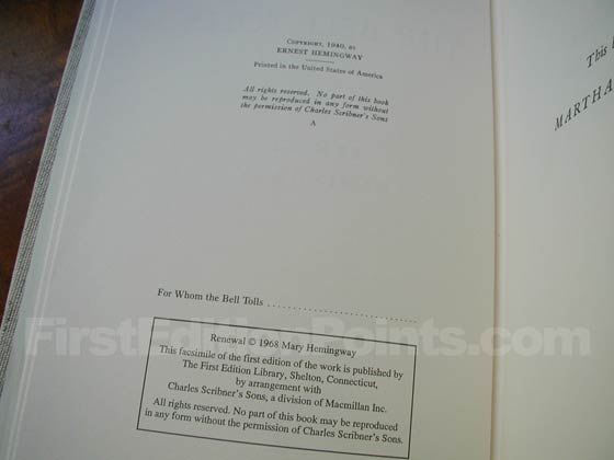 This is the copyright page from the First Edition Library edition.  Although it does have