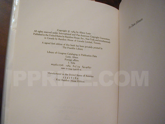 This is the copyright page from the first trade edition.