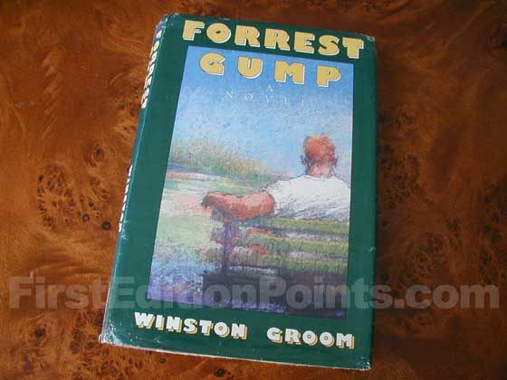 Picture of the 1986 first edition dust jacket for Forrest Gump.