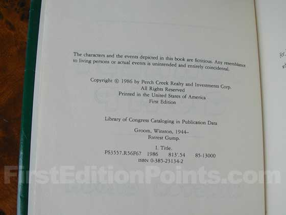 Picture of the first edition copyright page for Forrest Gump.
