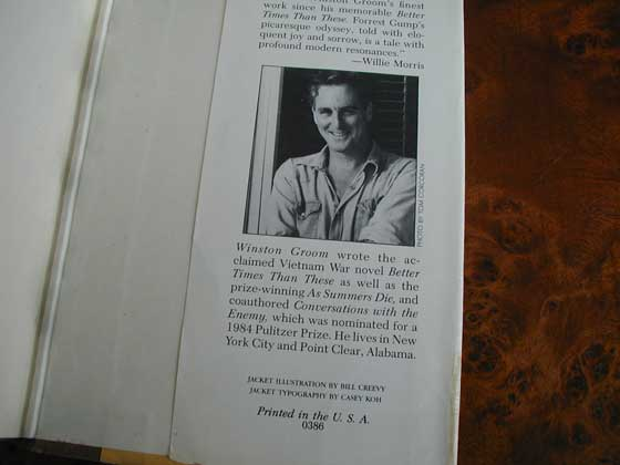 Picture of the back dust jacket flap for the first edition of Forrest Gump.