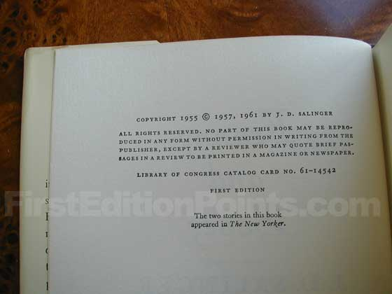 Picture of the first edition copyright page for Franny and Zooey.