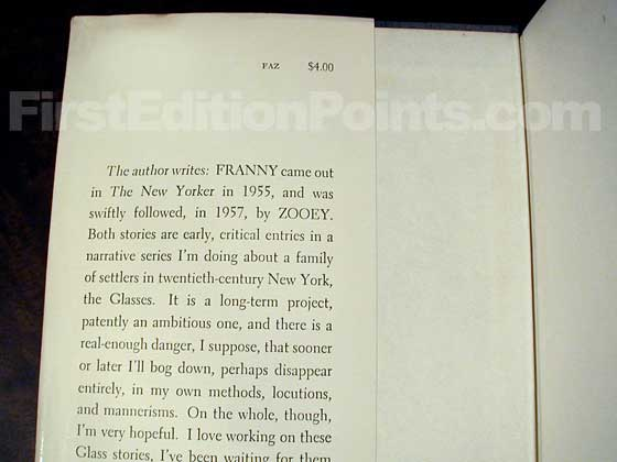 Picture of dust jacket where original $4.00 price is found for Franny and Zooey.