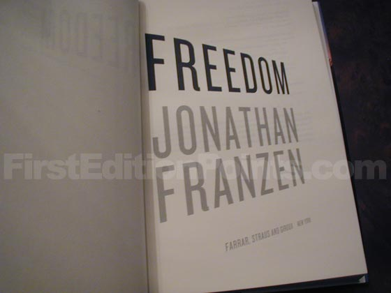 Picture of the first edition title page for Freedom.