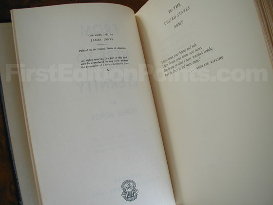 Picture of the first edition copyright page for From Here to Eternity.