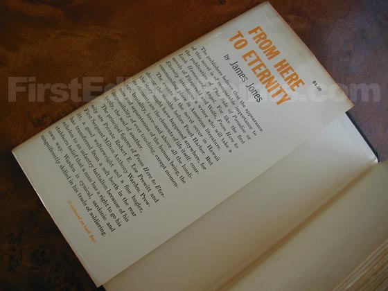 Picture of dust jacket where original $4.50  price is found for From Here to Eternity.