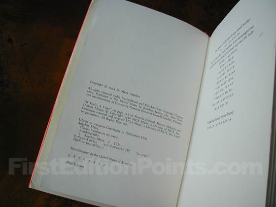 Picture of the first edition copyright page for Gather Together in My Name.