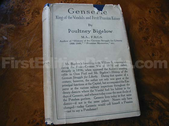 Picture of the 1918 first edition dust jacket for Genseric.