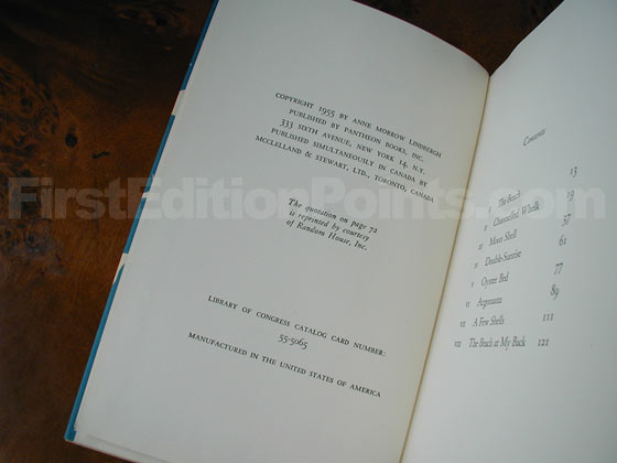 Picture of the first edition copyright page for Gift from the Sea.