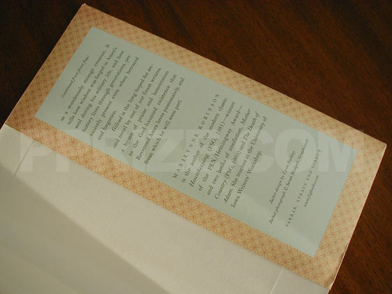 Picture of the back dust jacket flap for the first edition of Gilead.