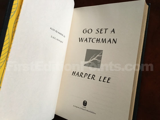 Title page from the Limited Leather-bound Edition of Go Set a Watchman is the same as the