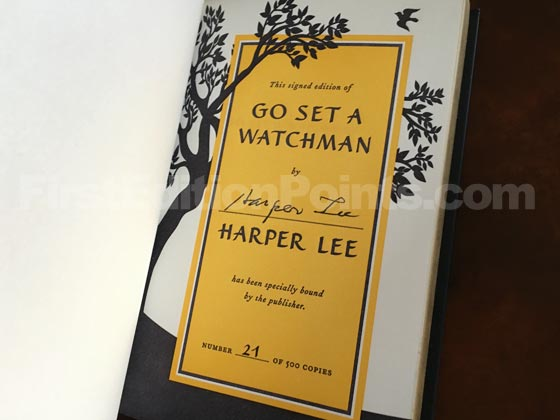 Each of the 500 copies of the Signed Collector's Edition of Go Set a Watchman has a