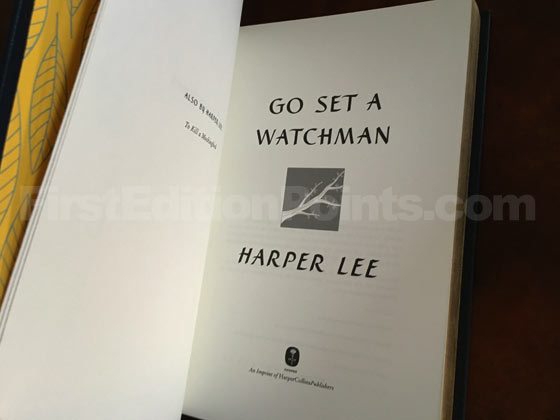 The title page of the Signed Collector's Edition of Go Set a Watchman is the same as