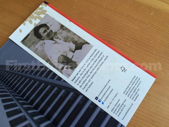 Picture of the back dust jacket flap for the UK first edition of Go Set a Watchma