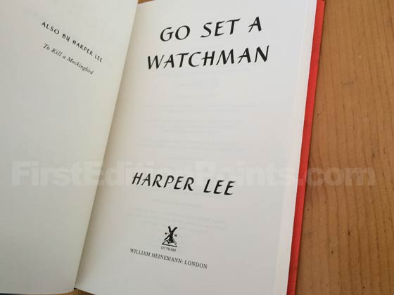 Picture of the UK first edition title page for Go Set a Watchman.