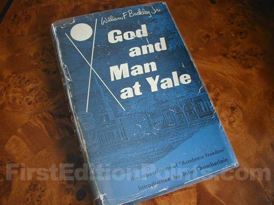 Picture of the 1951 first edition dust jacket for God and Man at Yale.