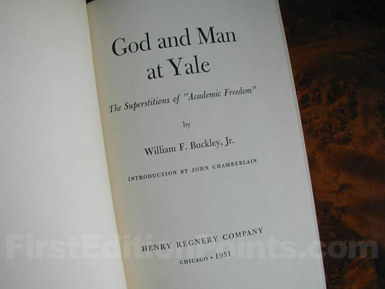 Picture of the first edition title page for God and Man at Yale.