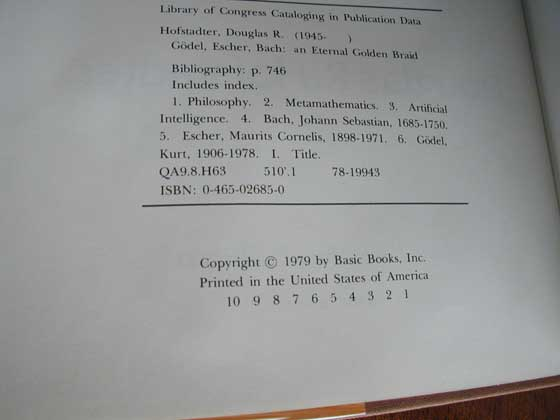 Picture of the first edition copyright page for Godel, Escher, Bach.