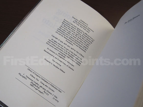 Picture of the first edition copyright page for Going after Cacciato.