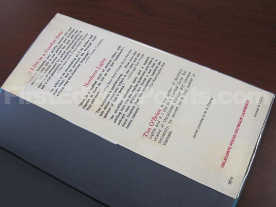 Picture of the back dust jacket flap for Going after Cacciato.