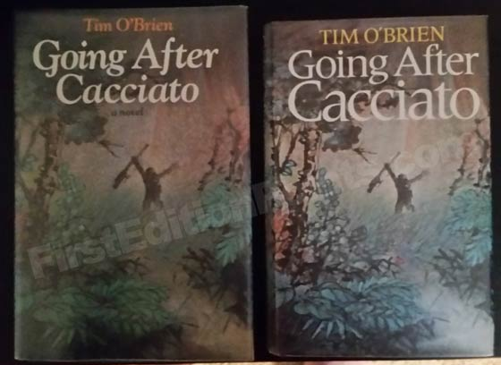 On the left is the first U.S. Edition of Going After Cacciato published by Delacorte