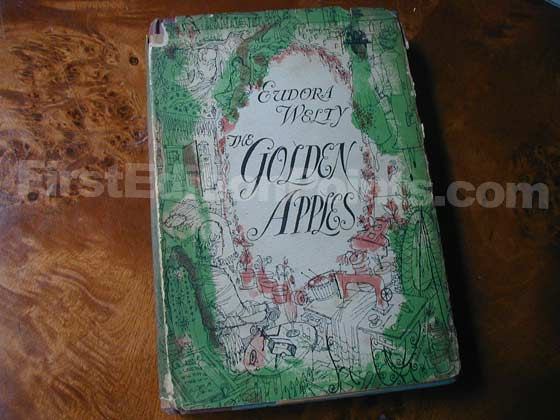 Picture of the 1949 first edition dust jacket for The Golden Apples.