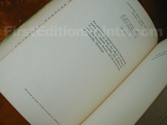 Picture of the first edition copyright page for The Golden Apples.