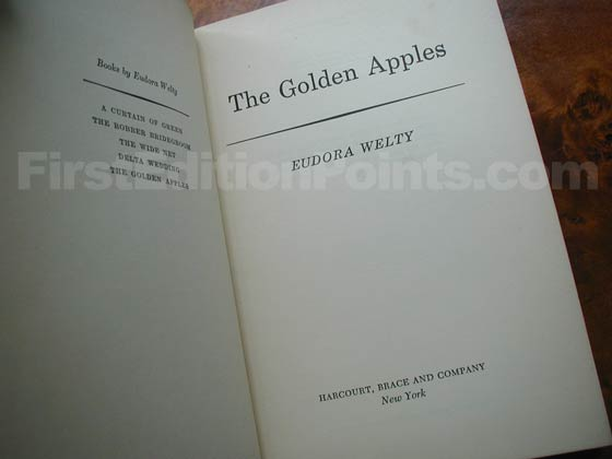 Picture of the first edition title page for The Golden Apples.