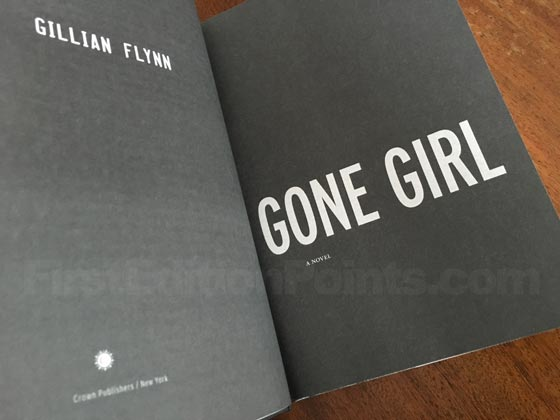 Picture of the first edition title page for Gone Girl.