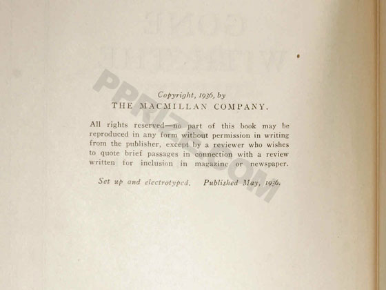 "The copyright page must state ""Published May, 1936"" with no other printing statements."