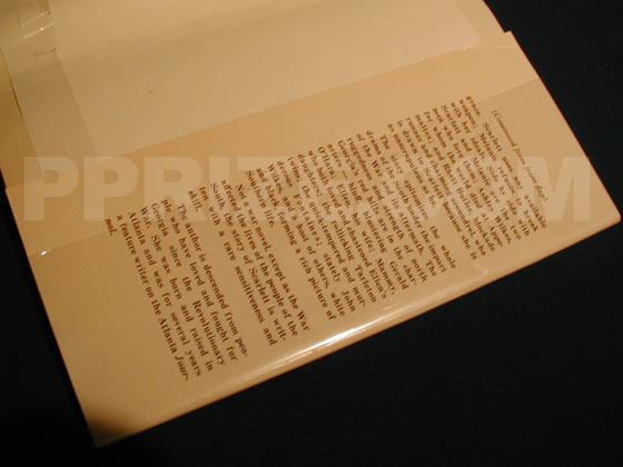 Picture of the back dust jacket flap for the first edition of Gone with the Wind.