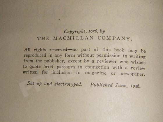 The copyright page in this photo is from a first June printing of Gone With the Wind. It