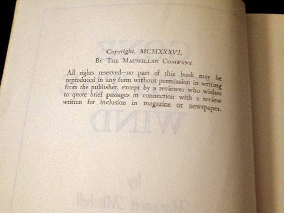 This copyright page is from a reprint of Gone With the Wind.  Note the roman numerals