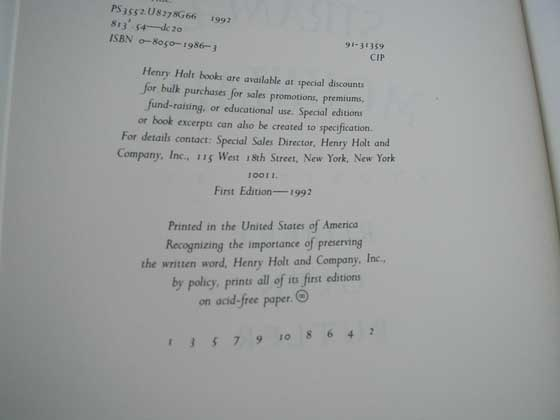 Picture of the first edition copyright page for A Good Scent From a Strange Mount