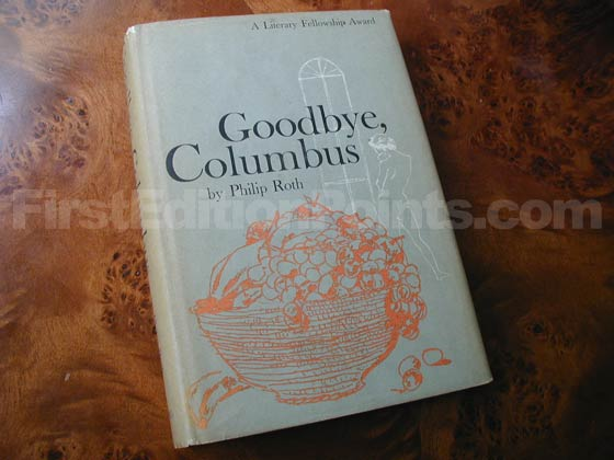 Picture of the 1959 first edition dust jacket for Goodbye, Columbus .