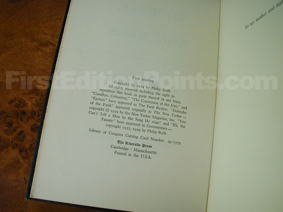 Picture of the first edition copyright page for Goodbye, Columbus .