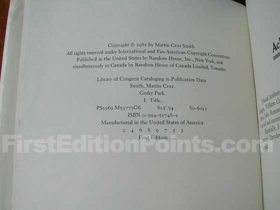 Picture of the first edition copyright page for Gorky Park.