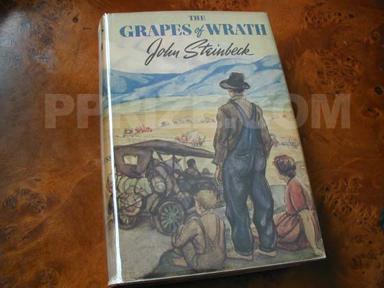 Picture of the 1939 first edition dust jacket for The Grapes of Wrath.