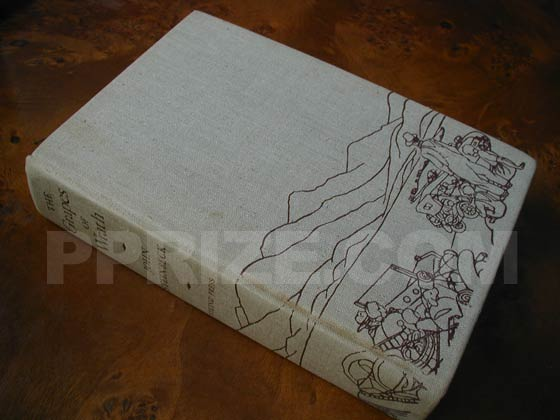 Picture of the first edition Viking boards for The Grapes of Wrath.