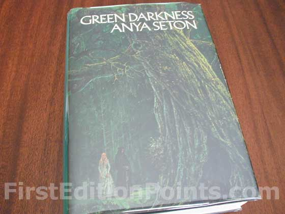 Picture of the 1973 first edition dust jacket for Green Darkness.