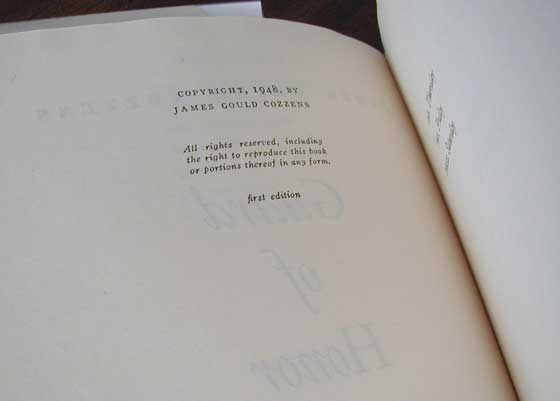 Picture of the first edition copyright page for Guard of Honor.