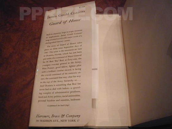 Picture of dust jacket where original $3.50 price is found for Guard of Honor.