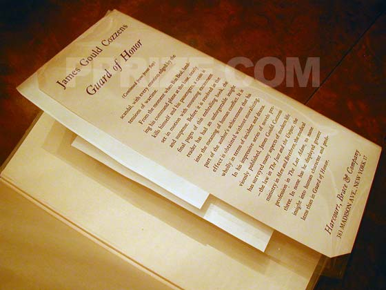 Picture of the back dust jacket flap for Guard of Honor.