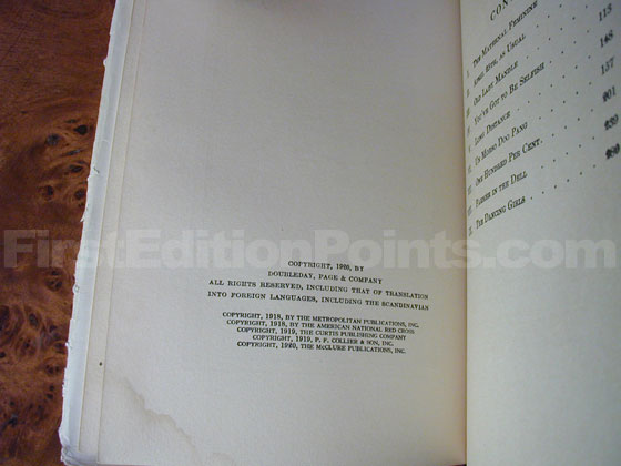 Picture of the first edition copyright page for Half Portions.