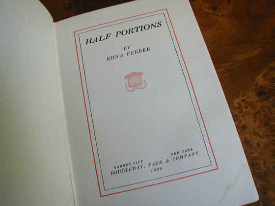 Picture of the first edition title page for Half Portions.
